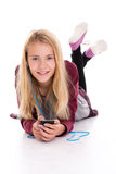 Nice blond girl listening misic Royalty Free Stock Photos