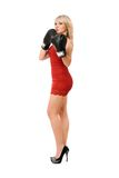 Nice blond lady in boxing gloves Stock Photo