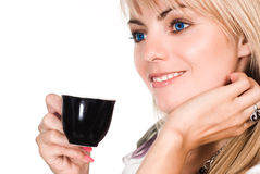 Nice blonde with cup Stock Photo