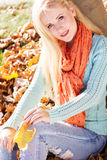 Nice blonde girl in autumn park Stock Images