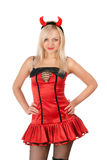 Nice blonde is wearing a devil costume Stock Image
