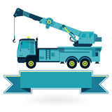 Nice blue big crane with hook and arm on white, construction machinery vehicle. Royalty Free Stock Images