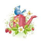 Nice blue bird sitting on the watering-can stock illustration