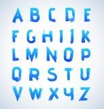 Nice blue brushed alphabet set. Brush painted blue color upper case letters vector illustration