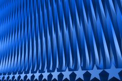 Nice blue 3D Illustration of abstract background - geometric surfaces formed with extruded star shape, celebration concept stock illustration
