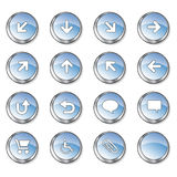 Nice blue glossy buttons. Icon collection 2 of 16 glossy blue buttons Stock Images