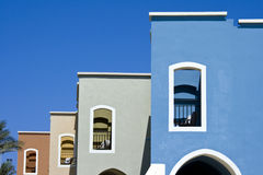 Nice blue hotel in Egypt with clear sky. Summer va Stock Image