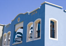Nice blue hotel in Egypt with clear sky. Summer va Royalty Free Stock Photo
