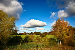 Nice blue sky with clouds formation and trees Royalty Free Stock Photo