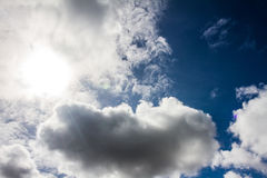 Nice blue sky with sun beam with cloudy. Stock Photography