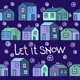 Nice blue winter card with Houses set.  Stock Images