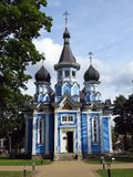 Beautiful old blue church, Lithuania stock images