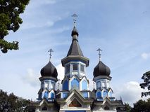 Beautiful old blue church, Lithuania royalty free stock photography