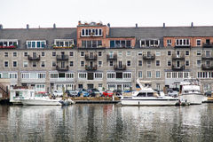 Nice Boats Docked by Old Hotel Royalty Free Stock Image