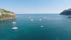 Nice boats sailing in calm sea on summer day, recreational activity for relax. Stock footage stock footage
