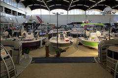 Nice Boats for sale at Boat expo. Nice winter boat expo in modern city Dallas TX 2017 Stock Photography