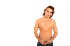 Nice body guy with long hair. Posing on a studio Stock Photography