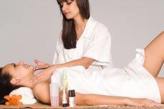 Nice body massage portrait. Portrait of a girl at body massage Royalty Free Stock Image