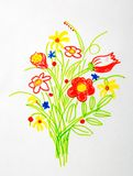 Nice bouquet of flower drawing. Nice bouquet of wild flowers drawing royalty free stock images