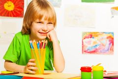 Nice boy with pencils Stock Images
