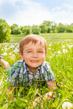 Nice boy smiles laying on a grass Royalty Free Stock Photo