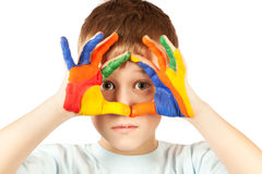 Nice kid with stained coloured hand Stock Photo