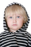 Nice boy in a striped vest. Nice boy in a hood striped vest on white background Royalty Free Stock Images