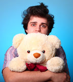 Nice boy with teddy bear in St. Valentine's Day Royalty Free Stock Photos