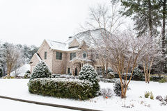 Nice Brick House After Heavy Snow Stock Image