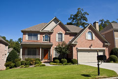 Nice Brick House with Red Door stock photography