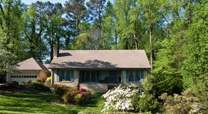 Nice Brick House in Spring Stock Photos