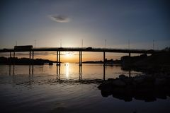 Another bridge in sunset in stavanger, hafrsfjord royalty free stock photography
