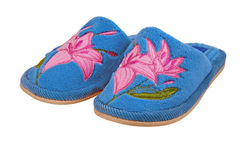 Nice bright child house slippers isolated Stock Photos