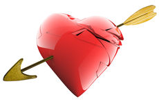 A nice broken heart with an arrow in isolated white background Royalty Free Stock Photos