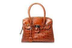 Nice brown crocodile leather woman handbag. Isolated on white background Royalty Free Stock Photos