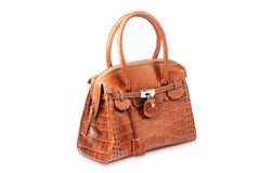 Nice brown crocodile leather woman handbag. Isolated on white background Royalty Free Stock Photography