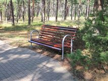 Beautiful resting bench in forest, Lithuania Stock Photo