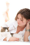 Pretty Woman with a cat Royalty Free Stock Photo