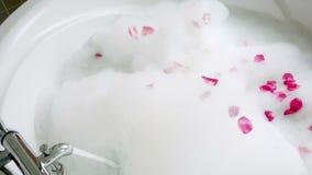 In a nice bubble bath. Falling petals stock footage