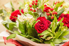 Nice bunch of flowers with red roses and other Royalty Free Stock Images