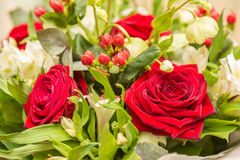 Nice bunch of flowers with red roses and other Royalty Free Stock Photos
