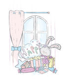 A nice bunny in the dress opens a box with a gift. Vector illustration for a postcard or a poster, print for clothes. Royalty Free Stock Image