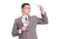Nice business man in a gray suit Stock Photography