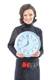 Nice business woman, with the clock. Stock Photos