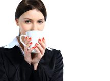 Nice business woman with a cup of coffee Royalty Free Stock Photo