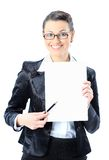 Nice business woman in glasses with a white banner Stock Photography