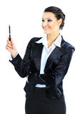 Nice business woman with a handle. Royalty Free Stock Photography