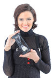 Business woman, with the hourglass. Stock Image