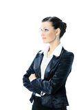 Nice business woman. Isolated on a white background. photo has a empty space for your text stock images