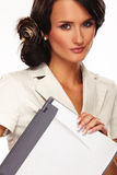 Nice business woman on white background Stock Photos